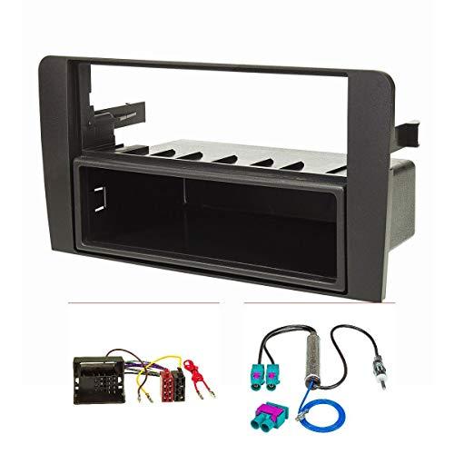 tomzz Audio 2403-048 Radioblende Set passend für Audi A3 8P 8PA schwarz mit Quadlockadapter ISO, Doppel Fakra Antennenadapter Phantomeinspeisung DIN ISO, Modelle mit Symphony, Concert oder Chorus