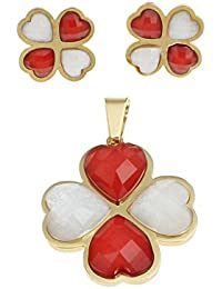 Golden Peacock Floral Shaped Pendant And Earring Set