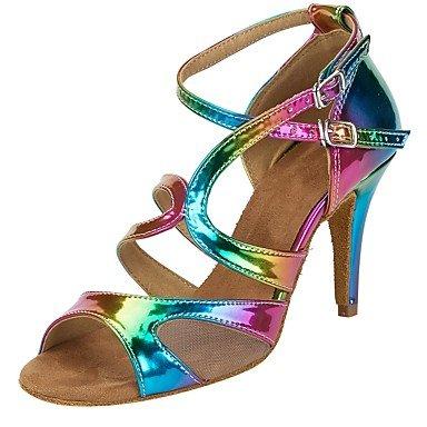 Moda inferiore morbida pelle tracolla trasversale buckleCustomizable metallo donna Rainbow scarpe da ballo salsa in similpelle sandali tacchi personalizzato Prestazioni di tacco Scarpe da ballo Rainbow