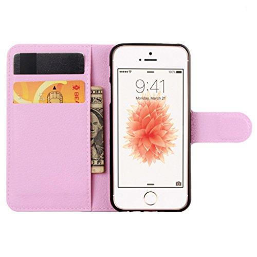 Coque Pour iphone 5C Rétro Litchi Texture PU Cuir Portefeuille Étui à rabat Housse avec Support Protection Antichocs Case Etui Pour iphone 5C - Blanc Pink