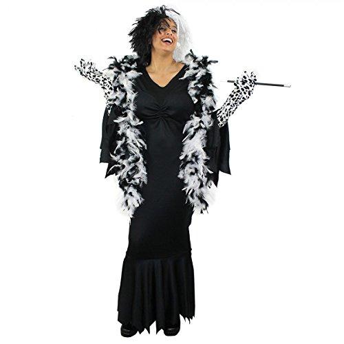 Déguisement de la femme cruelle envers les Dalmatiens avec une robe noire + une perruque + paire de longs gants + boa + un fume cigarette pour adulte. Ideal pour les fêtes d'Halloween. ( XLarge )