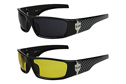 2er Pack Locs 9069 X05 Sonnenbrillen Herren Damen Männer Frauen Brille - 1x Modell 01 (schwarz glänzend - Grid-Design / schwarz getönt) und 1x Modell 02 (schwarz glänzend - Grid-Design / gelb getönt)