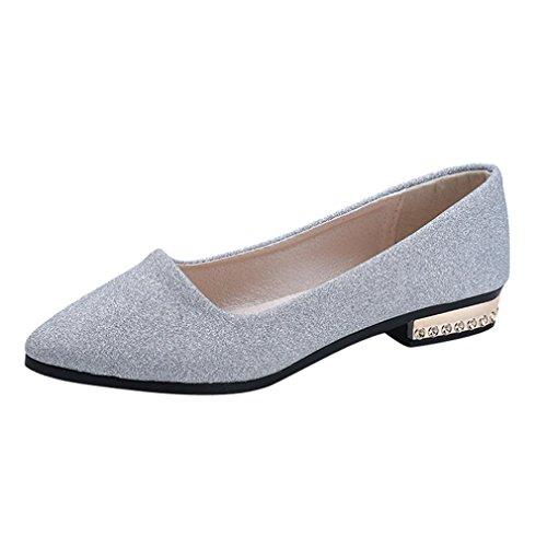 DEELIN Damen Schuhe Pailletten-Flache Beleg auf Niedrigen Fersen-Flachen Partei-Schuhen Zeigte Einzelne Schuhe (37, Silber) (Silber Niedrigen Ferse)