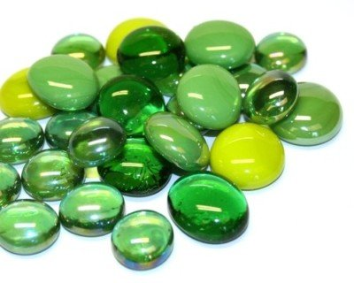 Glass Mosaic Tile Nuggets Green Mix Rounded Gems