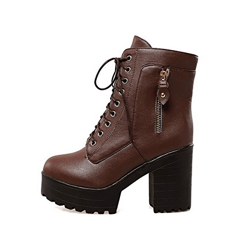 AllhqFashion Damen Schnüren Rein Hoher Absatz Weiches Material Niedrig-Spitze Stiefel, Braun, 42