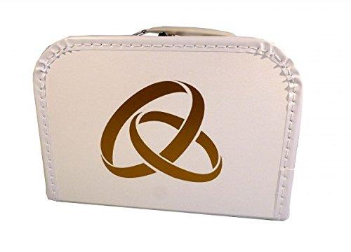 Hochzeitskoffer weiß mit goldenen Ringen 40 cm mit Trim
