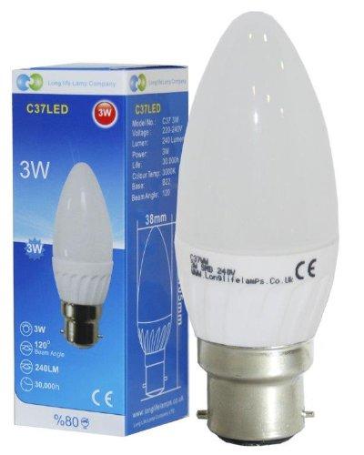3 W LED Ampoule Lampe Bougie B22 baïonnette Superbe Couleur Blanc chaud givré Bougie, 30 W de remplacement pour applique murale à incandescence Lampes
