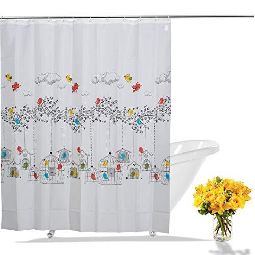 beytug Vögel Duschvorhang aus Stoff -mit Haken 180x200 cm | Anti-Schimmel, Wasserdicht und Waschbar