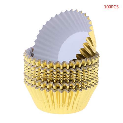 GROOMY 100 stück Papier Cupcake Cup Aluminiumfolie Muffin Backschalen Liners Cupcakes Fall-Gold