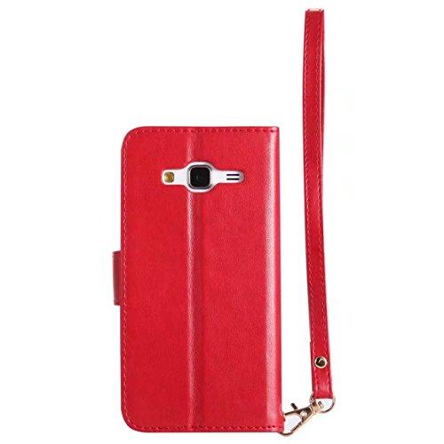 Horrizontal Folio Stand PU Ledertasche, Geldbörse Geldbörse Abdeckung Fall mit Lumious Shining Effekt & Lanyard für Samsung Galaxy J3 & J310 ( Color : Blue ) Red