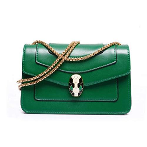 DHINGM Handtasche, One-Shoulder-Crossbody-Handtasche, kleine Goldkette, Wild Twill Snake Bag.Stilvoll und stilvoll, das Aussehen ist exquisit und großzügig (grün,...