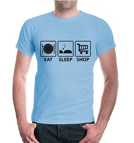 buXsbaum® T-Shirt Eat Sleep Shop Skyblue-Black