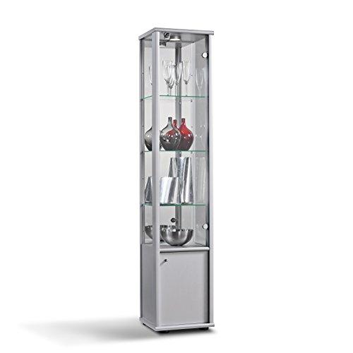 K-Möbel Glasvitrine Sammlervitrine Vitrine LED beleuchtet Schloss Spiegel 2trg mit 1 Holz- und 1 Glastür (Silber/Alu)