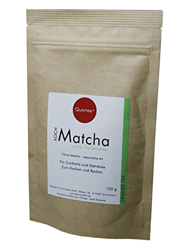 Matcha Tee Pulver – 100 g im Zip-Beutel zum Kochen, Backen, Cocktails, Mixgetränke, usw.