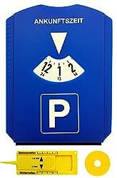 M&H-24 Parkscheibe Auto mit Einkaufswagenchip und Reifenprofilmesser - Parkuhr mit Eiskratzer aus Kunststoff in Blau