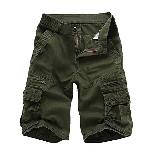 NEEKY Herren Shorts mit Mehreren Taschen Summer Fashion Mid-Rise Herren Shorts Loose Casual Tooling Pants Herren Hosen Sommer Kurz(33,Armeegrün) - Pkt Kordelzug