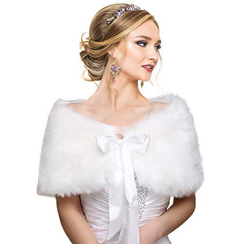 EQLEF® Brautzusatz Elfenbein Kunstpelz Hochzeit Braut Schal Brautschal Brautjacke Cape