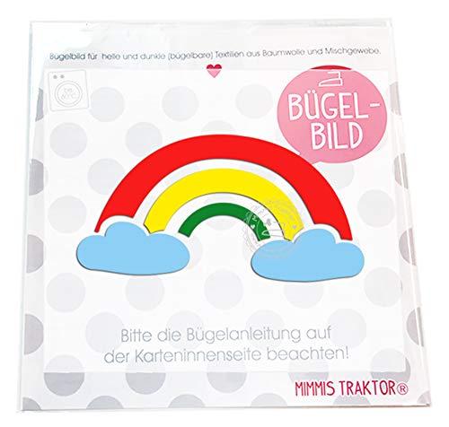 Mimmis Traktor® Bügelbild Regenbogen mit Wolken 11 cm ()