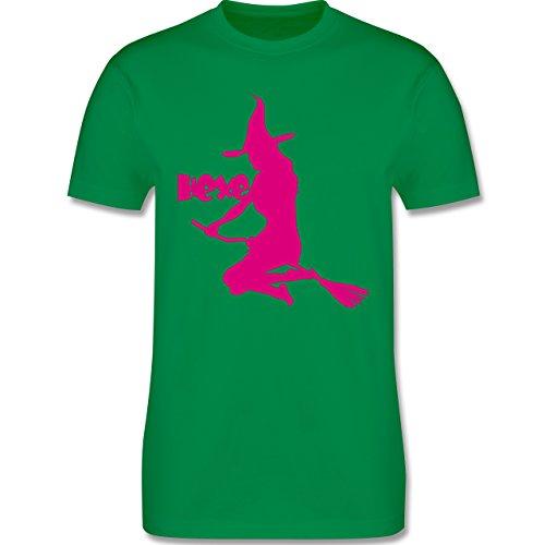 Halloween - Hexe auf dem Besen - Herren Premium T-Shirt Grün