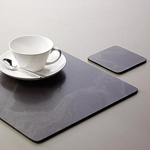 ProCook Platzset, Platzmatte und Untersetzer - 4-er-Set, Schieferoptik, schwarz