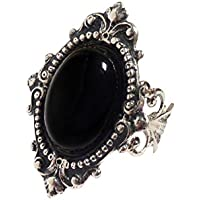 Black Onyx ring silver filigree Victorian gothic adjustable ring