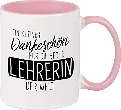 Shirtinstyle Tasse EIN kleines Dankeschön für die Beste Lehrerin der Welt Lehrer Lehrerin, Kaffeepott, Kaffeetasse, Farbe rosa