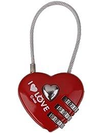 Candado de Combinación Seguridad Forma Corazón para Bolsa de Equipaje Maleta Gabinete Rojo