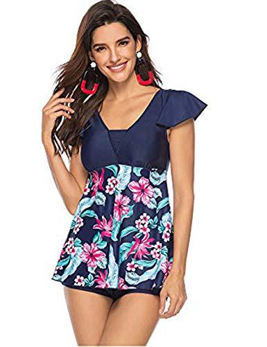 FeelinGirl Damen Neckholder Push Up Badekleid Figurformender Badeanzug mit Röckchen Bauchweg Einteiliger Badekleid 5XL Mehrfarbig