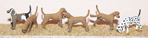 6 dogs - hounds, Dalmatian, Labrador OO Scale 1:76 UNPAINTED Model Kit.