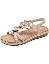 0d63c8ad4cf46 Mosstars Sandalias Mujer Verano 2019 Planas Mujeres Flor Cristal Moda  Hebilla Playa Romano Bohemio Sandalias Zapatos