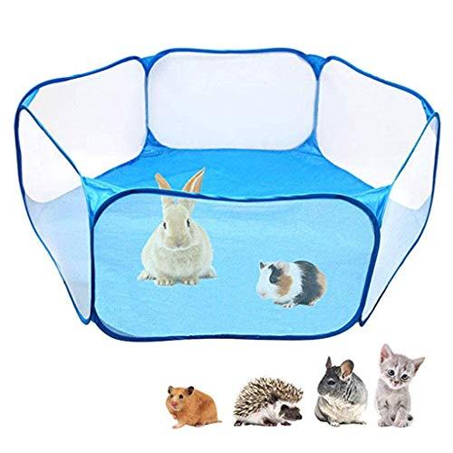 Finebuying Kleine Tiere Käfig Zelt, Atmungsaktiv durchsichtig Haustier Laufstall Pop Open Outdoor/Indoor Übungszaun, tragbarer Hofzaun für Meerschweinchen, Kaninchen, Hamster (Blau) (Outdoor Laufstall Haustier)