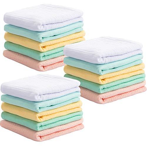 15 Stücke Neugeborene Waschlappen Musselin Neugeborene Handtuch Baumwolle Weiche Waschlappen Gesicht Bade Tücher für Neugeborene Kinder, 9.5 x 9.5 Zoll -
