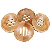Amerisky 4Pcs Bamboo Soap Dishs, Natural Wooden Round Soap Storage Tray Drainer Soap Holder for Bathroom Shower Kitchen Sponge