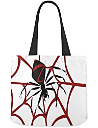 Black Widow Spider Pattern Women Canvas Tote Shoulder Bag for Groceries, Shopping, School Books and Office Use Handbag