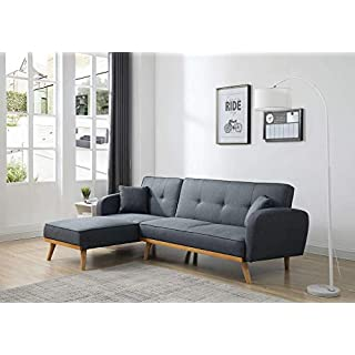 Bestmobilier - Viking - Canapé d'angle réversible Convertible - Style scandinave - Tissu