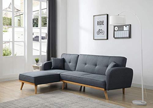 Bestmobilier - Viking - Canapé d'angle réversible Convertible - Style scandinave - Tissu