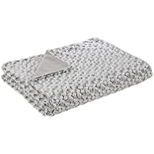 Plaid para pie de cama romántico gris de poliéster para dormitorio Vitta - Lola Derek
