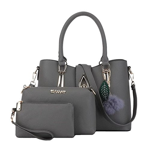Donna Classic Handbag Set Shoulder Crossbody Bag with Pompom 3 set Rose Rose Grigio