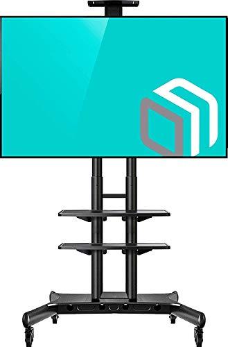 """ONKRON TV Mobil Ständer für 55"""" - 80"""" Zoll OLED LCD LED 4K 8K Plasma Bildschirme Rollbar Fernsehtisch TV-Standfuss mit AV-Ablagen VESA 200x200 bis 800x500 mm TS1881 Schwarz"""