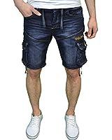 Crosshatch Mens Designer Branded Darkwash Denim Casual Summer Shorts