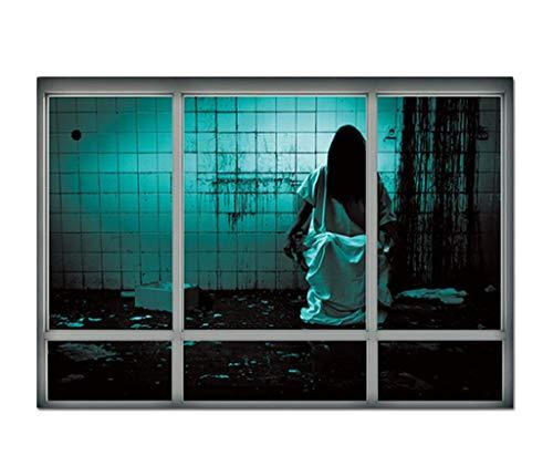 Wallpaper FANGQIAO SHOP Stereo 3D Kreative Gefälschte Fenster Wandaufkleber, Halloween Ruinen Weiblichen Geist Aufkleber Wohnzimmer Schlafzimmer Dekor
