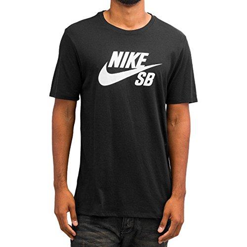 White Nike Sb (Nike Herren Logo Tee T-Shirt, Black/Black/White, L)