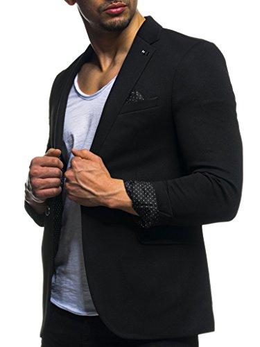 Leif Nelson Herren Sakko Blazer sportlich Slim Fit Modern Schwarz Blau Anthraztit ; Größe XL, Schwarz