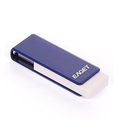 EAGET Ados PenDrive USB 3,0 64GB Blu Metallo Chiavette USB Alta Velocità Durevole Portachiavi F50