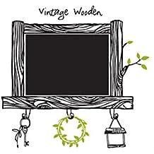 LO+DEMODA HCN967-5 - Pizarra de vinilo adhesivo, diseño Vintage wooden, 83 x 80 cm, multicolor