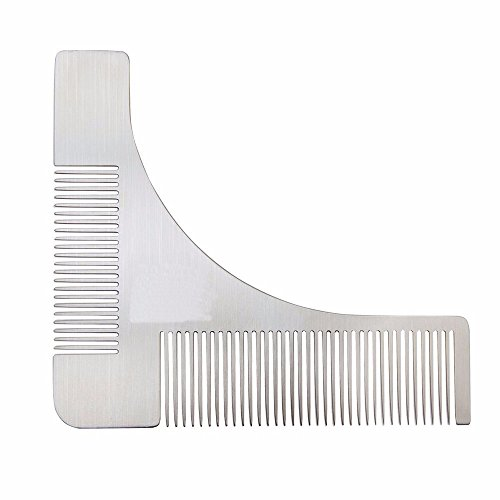 Z-synka Stainless Steel Metal Beard Shaping Tool & Shaper Template Grooming Kit Guide for Men, Perfect Moustache Comb ()