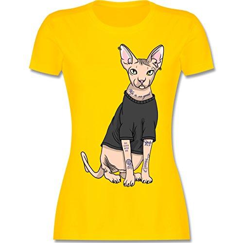Shirtracer Katzen - Tattoo Sphynx-Katze - Damen T-Shirt Rundhals Gelb