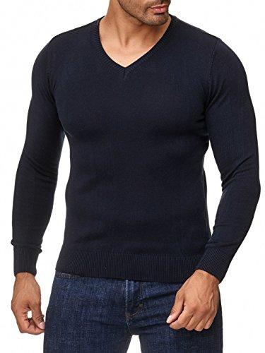 MOKIES Herren Pullover mit V-Ausschnitt - Modern-Fit - Hochwertige Baumwollmischung - Feinstrick-Pullover - Navy 2XL