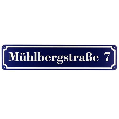 Langes Hausnummer und Straße Schild Blau 2mm Aluverbund, 50 x 11 cm Jetzt Selbst Gestalten