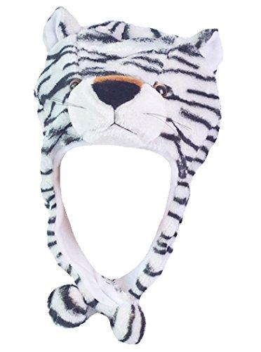 Honeystore Unisex Tiermütze Tiger Tier Mütze Plüsch Plüschmütze Verkleidung Strickmütze Weiß (Prada Herren-köln)